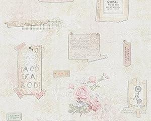 Djooz Tapete - Material: Papier in beige, grün, rosa (Nr. 1509-2996