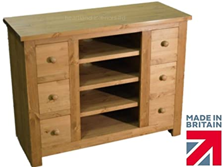 Solid Pine TV Unit, Handcrafted & Waxed Multi-Media 6 Drawer Unit. Choice of Colours. No flat packs, No assembly (CTV-6D)