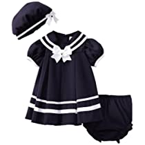 Rare Editions Baby Girls 3 Piece Navy Nautical Dress and Hat Set - 12-24 Months