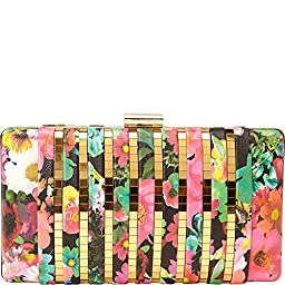La Regale Hard Floral Clutch, Pink Multi, One Size