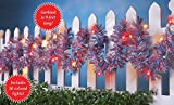 Patriotic Checkered Lighted Tinsel Garland