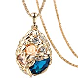 The Starry Night Drop Blue Crystal Resin Rose Flower Champaign Gold Color Diamond Accented Sweater Chain (Color: Yellow, Tamaño: fabric,cording,floor,diaries,outside)
