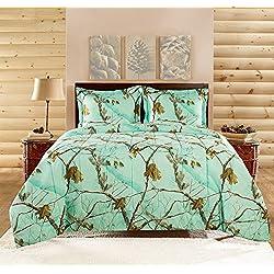 Realtree APC 3 Piece Comforter Set, Full, Bright Mint