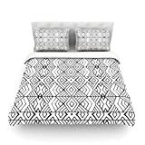 "Kess InHouse Pom Graphic Design ""Tribal Expression"" Black White King Cotton Duvet Cover, 104 by 88-Inch"