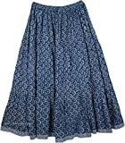 """TLB - Blue White Printed Cotton Summer Skirt - L:36""""; W:30""""-46"""""""