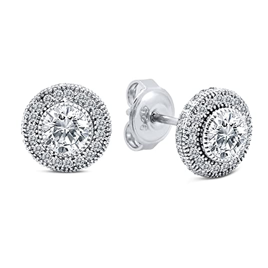 Round Micro Pave Stud Earrings with Signity Cubic Zirconia on Sterling Silver
