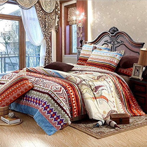 LELVA Luxury Cotton Bedding Sets Ethnic Exotic Style, Moroccan-style Bedding, Bohemian Style Bedding Set, Boho Duvet Cover Set, Full Size 4pcs (Moroccan Bedding Full compare prices)