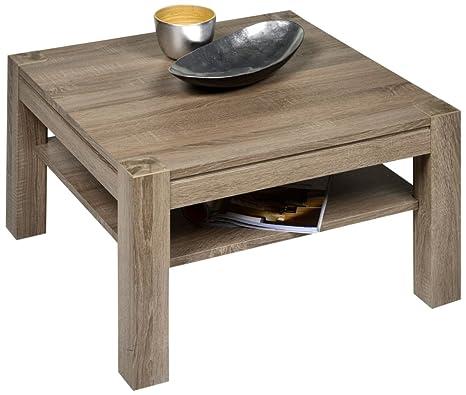 Alfa-Tische M2314 - Tavolino Cosmo 80 x 80 cm, linea Sonoma, quadrato, colore: tartufo