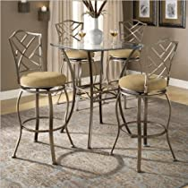 Big Sale Best Cheap Deals Bar Height Beveled Glass Bistro Table with Four Lattice Back Stools - Brookside/Hanover