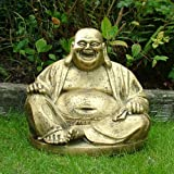 Garden Ornaments - Gold Laughing Buddha Statue Sculpture