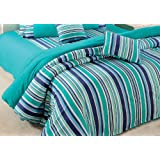 Swayam Linea Stripes Cotton Double Comforter - Turquoise Stripes