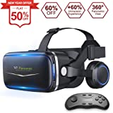 Pansonite Vr Headset with Remote Controller[New Version], 3D Glasses Virtual Reality Headset for VR Games & 3D Movies, Eye Care System for iPhone and Android Smartphones (Black) (Color: black)