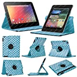 Stuff4 MR-NX7-L360-PD-LBW-STY-SP Polka Dot Designed Leather Smart Case with 360 Degree Rotating Swivel Action and Free Screen Protector/Stylus Touch Pen for 7 inch Google Nexus 7 - Light Blue/White