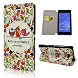 Sony Xperia M2 Case, Ludan Painted Series Bird PU Leather Book Style Wallet Credit Card Holder Cover Case Fit for 4.8 inches Sony Xperia M2 S50h D2305 D2303 D2306