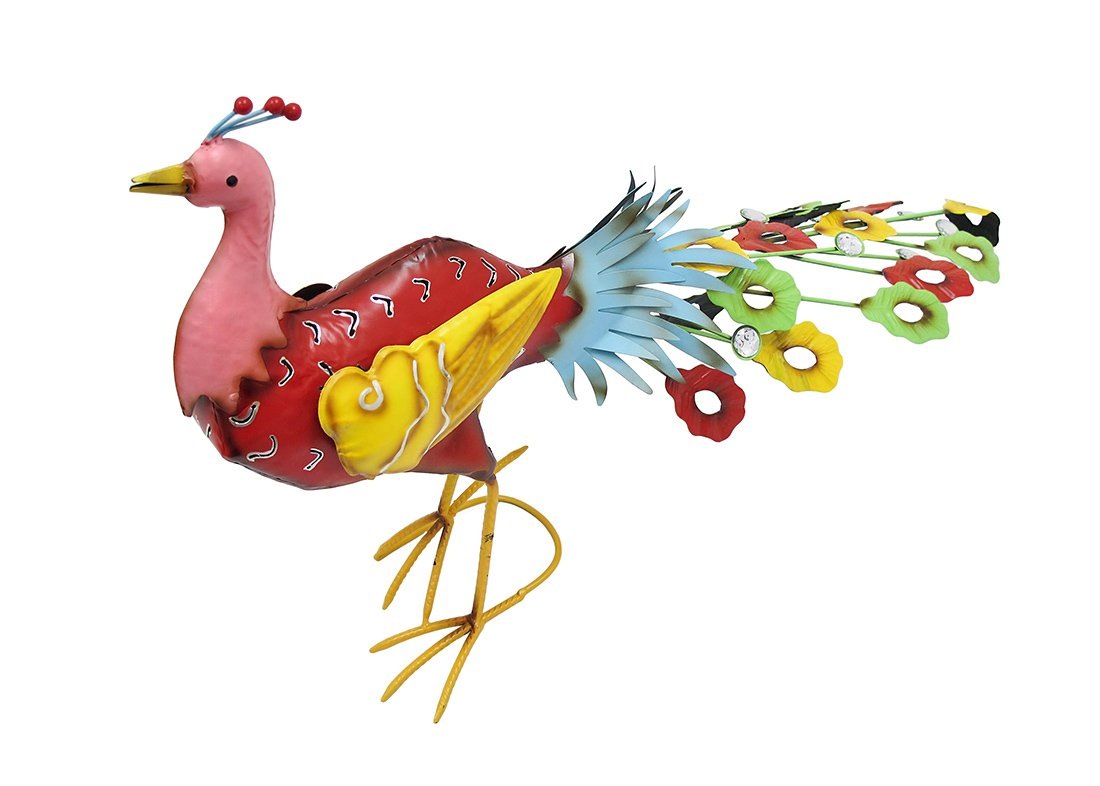 Whimsical Brightly Colored Metal Peacock Garden Statue