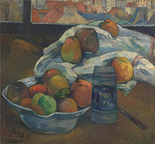 Oil Painting 'Paul Gauguin Bowl Of Fruit And Tankard Before A Window', 16 x 17 inch / 41 x 44 cm , on High Definition HD canvas prints is for Gifts And Bed Room, Hallway And Kitchen Decoration, diy (3rd Stage Baby Food compare prices)