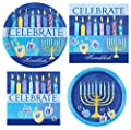 Celebrate Hanukkah Party Supplies for 16 People: Dinner Plates Dessert Plates and Napkins 64 Piece Bundle