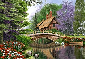 puzzle 1000 teile englisches cottage castorland victorian garten haus landhaus zeichnung. Black Bedroom Furniture Sets. Home Design Ideas