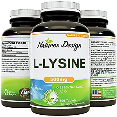 Pure L-LYSINE 500mg - 100 Tablets - Natural Essential Amino Acid Supplement - Boost Immunity and Prevent Cold Sores - L-lysine Helps Collagen Formation for Healthy Skin + Hair & Bones