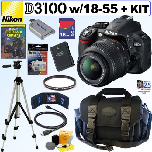 Nikon D3100 14.2MP Digital SLR Camera with 18-55mm f/3.5-5.6 AF-S DX VR Nikkor Zoom Lens + EN-EL14 Battery + Nikon Filter + 16GB Deluxe Accessory Kit