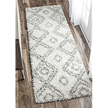Cozy Soft and Plush Moroccan Trellis/Grey Runner Shag Area Rug