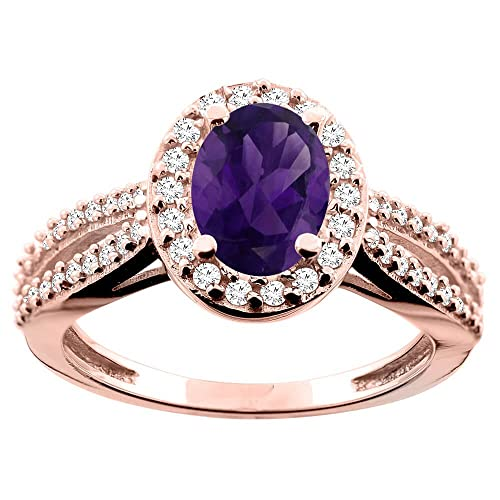 14ct Rose Gold Natural Amethyst Ring Oval 8x6mm Diamond Accent 7/16 inch wide, size P