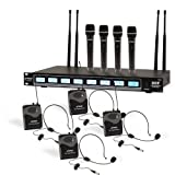 Pyle 8 Ch UHF Wireless Microphone System & Rack Mountable Base 4 Handheld MICS 4 Headsets, 4 Belt Packs, 4 Lavelier/Lapel MIC with Independent Volume Controls AF & RF Signal Indicators (PDWM8350) (Color: Black)