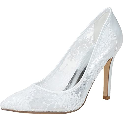 LOSLANDIFEN Women's Pointed Toe Flowers Stiletto Heel Lace Wedding Bridal Shoes(0608-10Lace40,baileisi)