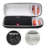Hard Travel Case for JBL Charge 4 Portable Waterproof Wireless Bluetooth Speaker EVA Storage Carrying Protective Bag - Fits Plug & Cables & Accessories (Black) (Color: Black)