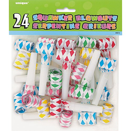 Diamond Squawker Party Blowers, Assorted 24ct (Red Birthday Blowers compare prices)