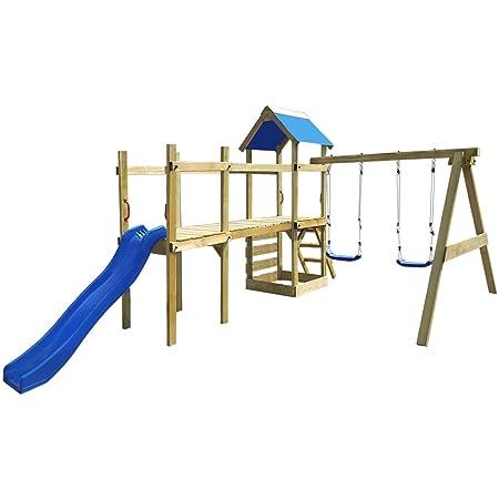 vidaXL Set da gioco in legno con scaletta, scivolo e altalene 463 x 275 x 243 cm