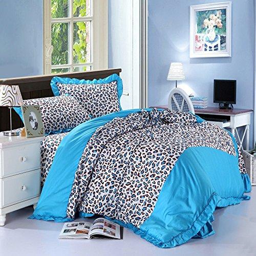 4Pcs Set Textile / Korean Princess Cartoon Pastoral Cotton Denim / Linen Wedding Quilt Bedding Set front-854700