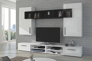 Moderno conjunto de muebles de salón DOLCE (Conjunto DOLCE Blanco & Negro brillante)