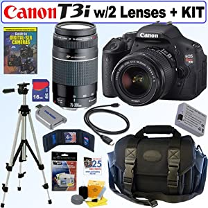 Canon EOS Rebel T3i 18 MP CMOS Digital SLR Camera with EF-S 18-55mm f/3.5-5.6 IS II Zoom Lens & EF 75-300mm f/4-5.6 III