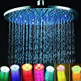 8 Inch 7 Color LED Lights Romantic Rain Waterfall Rainfall Raindance Chrome Rainshower Disc Bathroom Hotel Spa Bath Fun Two Person Rainfall Exotic Big Oversized Sprite Giant Luxury Hotal Spa Sex Glow Showerhead Shower Head Heads BA1001C