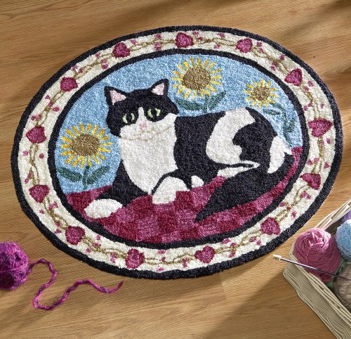 Black & White Cat Indoor Handhooked Round Rug by Collections Etc