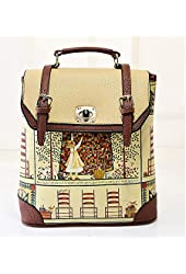 Buenocn Women's Backpack Classic Print Personalized Handbag Backpack Travel Bag Shy513 Beige