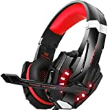 BENGOO Stereo Gaming Headset for PS4, PC, Xbox One Controller, Noise Cancelling Over Ear Headphones with Mic, LED Light, Bass Surround, Soft Memory Earmuffs for Laptop Mac Nintendo Switch Games -Red (Color: Red)