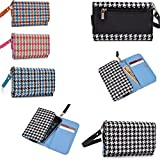 Universal phone holder wallet w/ removable wristlet strap/ internal card slots/coin pocket in Black/white houndstooth pattern- Compatible fit for the following models: Motorola Photon Q 4G LTE XT897