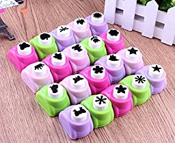 Canshansimita Mini Paper Craft Punch Card Scrapbook Engraving Kid Cut DIY Handmade Hole Puncher for Festival Papers /Greeting Cards /Invitation Cards (Random Shape and Color, 21 Pcs)