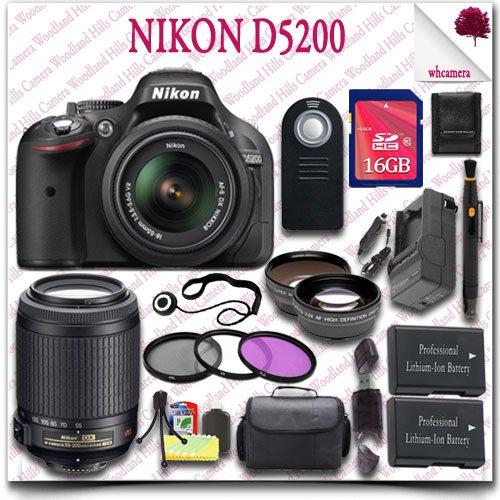 Nikon D5200 Digital Slr Camera With 18-55Mm Af-S Dx Vr (Black) + Nikon 55-200Mm Af-S Dx Vr Lens + 16Gb Sdhc Class 10 Card + Wide Angle Lens / Telephoto Lens + 3Pc Filter Kit + Slr Gadget Bag + Wireless Remote 21Pc Nikon Saver Bundle