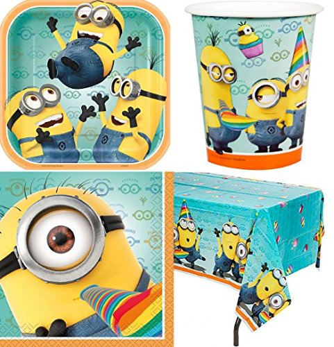 1-X-Despicable-Me-2-Party-Supplies-Pack-Including-Plates-Cups-Napkins-and-Tablecover-16-Guests