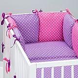 Set de 10 piezas de ropa de cama de beb�: protector de cuna 6 unidades, Edred�n para beb� tama�o grande, con funda de edred�n, funda de almohada, funda de peque�os oreiller. lunares, dise�o de lunares, color rosa morado Talla:lit b�b� de 120 x 60