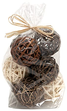 Brown Natural Wicker Bag of 9 Rustic Decor Twig Orb Balls - by Melrose