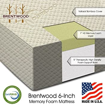 Review Brentwood 6' Extra Firm HD Memory Foam Mattress   100% Made