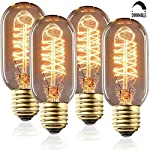 SooFoo T45 Edison Tubular Style Bulb , Vintage Antique Light Bulb ,E27 E26 Base ,110-130V 40W ,Warm white , Tubular Clear Glass, Filament Bulb For Home Light Fixtures Decorative, Dimmable (4 Pack)