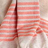 Semi Striped Turkish Linen Towel Pestemal Orange on Natural Color. Pure Linen Turkish Towel Pestemal . Turkish Bath Towel Soft Linen