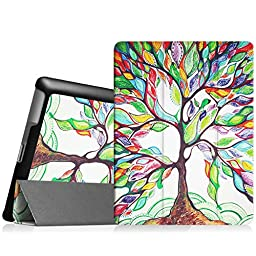 Fintie iPad 2/3/4 Case - Ultra Slim Tri-Fold Smart Cover Lightweight Stand Case Supports Auto Wake/Sleep for iPad 4th Generation with Retina Display, iPad 3 & iPad 2 - Love Tree