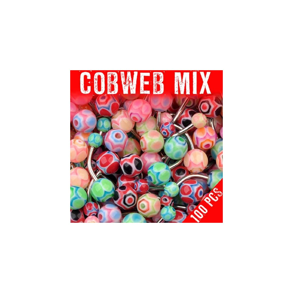 Assorted Cobweb Mix 100 Navel Rings Mixed Belly Button Piercing Body