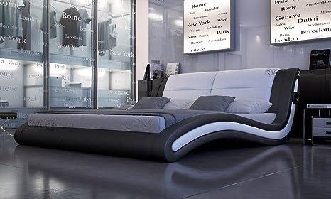SAM® Innocent Polsterbett Trilium Sound in schwarz/weiß 180 x 200 cm geschwungene Seitenteile Kopfteil mit Lautsprechern modernes Design Wasserbett geeignet